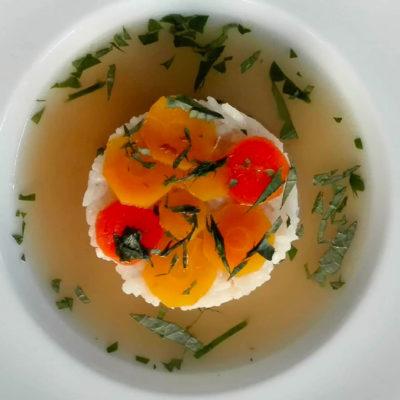 risotto aux carottes, bouillon de légumes