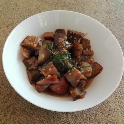 aubergine marinées au soja, gingembre et saké